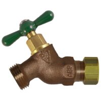 """The Arrowhead Brass 254CCLF standard hose bib series is made from heavy-duty, lead-free bronze and has a 1/2"""" copper compression connection."""