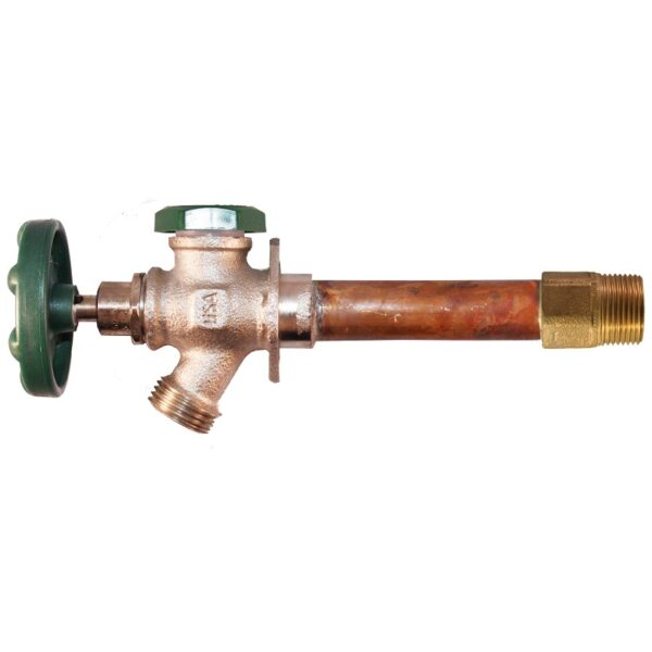 """The Arrowhead Brass 428LF series anti-siphon frost-proof hydrants have a ¾"""" MIP and ¾"""" copper sweat inlet."""