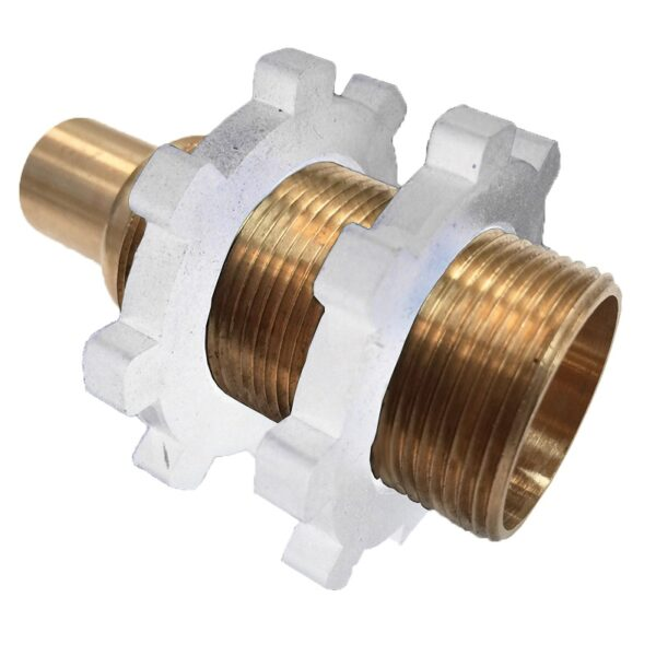 """The Arrowhead Brass 55CC straight showerhead adapter comes with two white nylon nuts and has a ½"""" copper sweat connection x 1"""" MIP thread."""