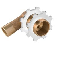 """The Arrowhead Brass 56CC angle showerhead adapter comes with two white nylon nuts and has a ½"""" copper sweat connection x 1"""" MIP thread."""