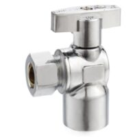 The Arrowhead Brass AS50F25C angle supply stop valves have self-lubricating Teflon seals and a double O-ring for safety.