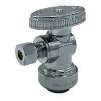 The Arrowhead Brass AS50R25C angle supply stop valves have self-lubricating Teflon seals and a double O-ring for safety.