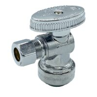The Arrowhead Brass AS50R37C angle supply stop valves have self-lubricating Teflon seals and a double O-ring for safety.