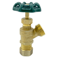 """Arrowhead Brass BD50C boiler drains are made from high-quality lead-free brass and are for use in low-pressure potable water systems. The BD50C has a ½"""" compression (5/8 OD) connection."""