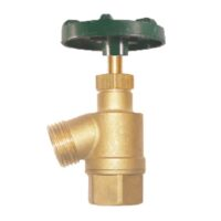 """The Arrowhead Brass GV100F garden valve is lead-free. The GV100F has a 1"""" female iron pipe (FIP) inlet and a bent nose design."""