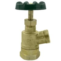 "The Arrowhead Brass GV100F-V garden valve is lead-free. The GV100F-V has a 1"" female iron pipe (FIP) inlet and inverted nose design."