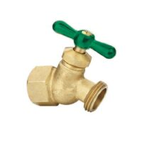 "The Arrowhead Brass NK50F no kink hose bib is made from heavy patterned lead-free brass and has a ½"" female iron pipe (FIP) inlet."