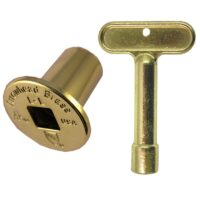 Arrowhead Brass PK1330 polished brass replacement log lighter key and flange for Arrowhead Brass 258 and 259 log lighter kits.