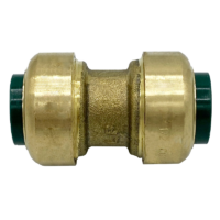 """Arrowhead Brass RGC100 push-fit couplers are lead-free and allow for ease of installation on copper, CPVC, and PEX within seconds. The RGC100 is 1"""" x 1""""."""