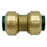 """Arrowhead Brass RGC50 push-fit couplers are lead-free and allow for ease of installation on copper, CPVC, and PEX within seconds. The RGC50 is ½"""" x ½""""."""