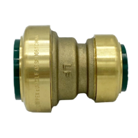 """Arrowhead Brass RGC75-R push-fit couplers are lead-free and allow for ease of installation on copper, CPVC, and PEX within seconds. The RGC75-R is ¾"""" x ½""""."""