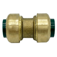 """Arrowhead Brass RGC75 push-fit couplers are lead-free and allow for ease of installation on copper, CPVC, and PEX within seconds. The RGC75 is ¾"""" x ¾""""."""