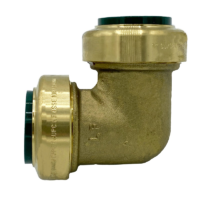 """Arrowhead Brass RGE100 push-fit elbow adapters are lead-free and allow for ease of installation on copper, CPVC, and PEX within seconds. The RGE100 is 1"""" x 1""""."""