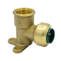"""Arrowhead Brass RGE50-F push-fit elbow adapters are lead-free and allow for ease of installation on copper, CPVC, and PEX within seconds. The RGE50-F is ½"""" x ½"""" and has a female national pipe thread (FNPT) with a mounting flange."""