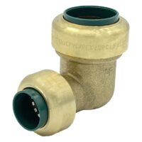 """The Arrowhead Brass RGE75-R push-fit elbow adapters are lead-free and allow for ease of installation on copper, CPVC, and PEX within seconds. The RGE75-R is ¾"""" x ½"""" reducing."""