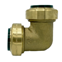 """Arrowhead Brass RGE75 push-fit elbow adapters are lead-free and allow for ease of installation on copper, CPVC, and PEX within seconds. The RGE75 is ¾"""" x ¾""""."""
