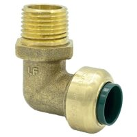 """The Arrowhead Brass RGEA50M50 push-fit elbow adapters are lead-free and allow for ease of installation on copper, CPVC, and PEX within seconds. The RGEA50M50 is ½"""" x ½"""" with a male national pipe thread (MNPT) connection."""