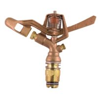 "The Champion Irrigation S201-2 series brass impulse sprinkler features brass construction and full-circle adjustable spray, double nozzles, and ¾"" male national pipe thread (NPT) connection."