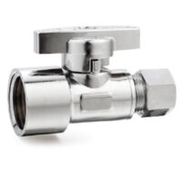 The Arrowhead Brass SS50F37C straight stop valves are lead-free and have a polished chrome finish.