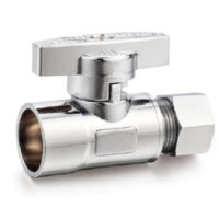 The Arrowhead Brass SS50S37C straight stop valves are lead-free and have a polished chrome finish.
